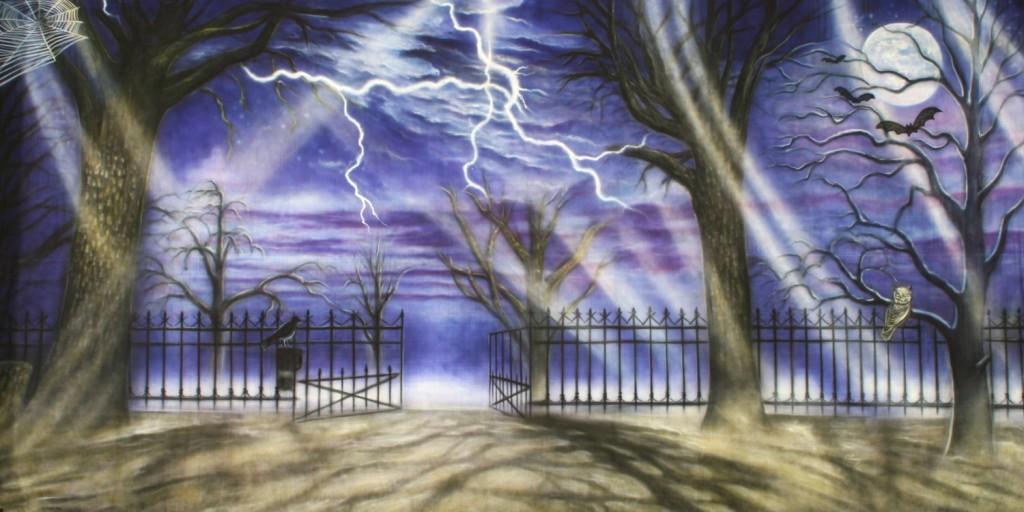 halloween haunted courtyard 1 backdrop