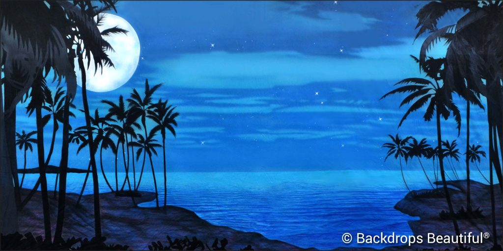 New Backdrops - Tropical Beach 15 Moonlight