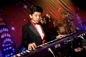 Backdrops-Boy playing the organ