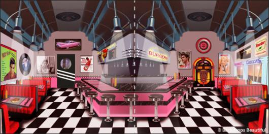 Backdrops: Diner Inside 2 Panel