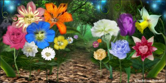 Backdrops: Wonderland Flowers 2