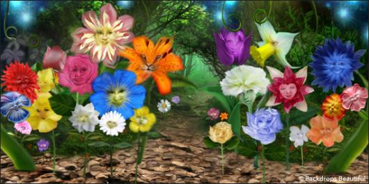 Backdrops: Wonderland Flowers 3