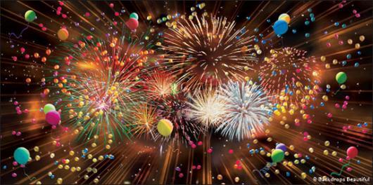 Backdrops: Fireworks Balloons 2