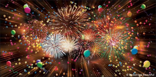 Backdrops: Fireworks Balloons 4B