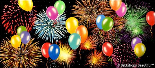 Backdrops: Fireworks Balloons 6
