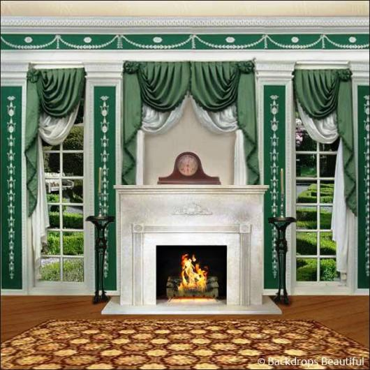Backdrops: Mansion View  3 Fireplace