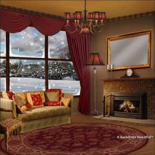 Winter Living Room: Hand Painted Scenic Backdrop Rentals