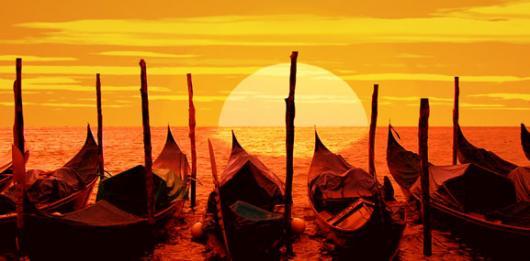 Backdrops: Gondolas at Sunset 1