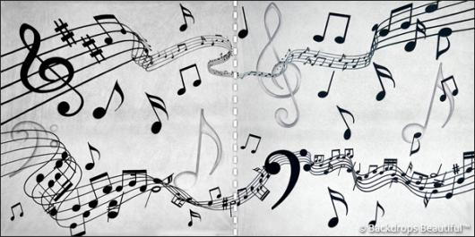 Backdrops: Musical Notes 3 Panel