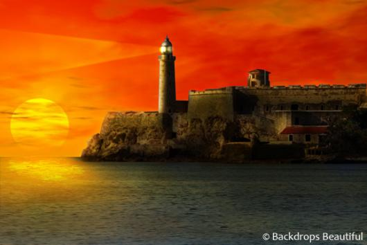 Backdrops: Lighthouse Sunset 2