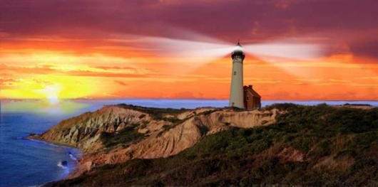 Backdrops: Lighthouse Sunset 1