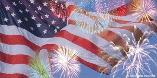 fireworks american flag