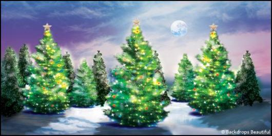 Backdrops: Xmas Trees 5b Moon
