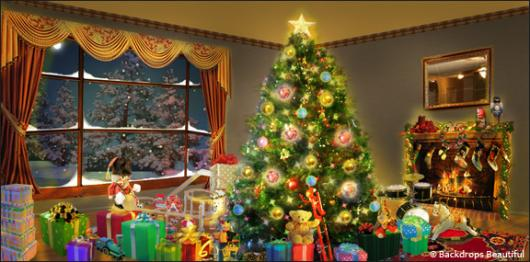 Xmas Home 3 & Backdrops Beautiful   Hand Painted Scenic Backdrop Rentals and Sales